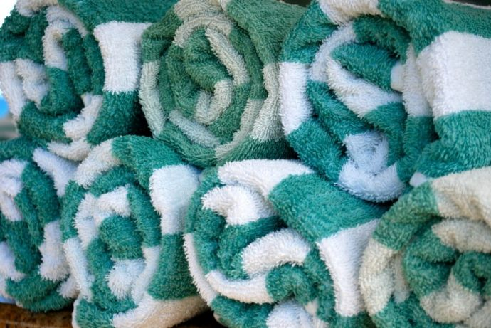 Green and White Towels