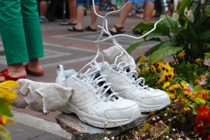 Boston Strong Memorial  Sneakers with Wings